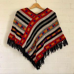 VINTAGE Multicolor Woven Poncho